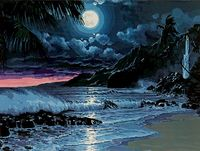 "Картина по номерам ""Луна над морем"" (400x500 мм)"