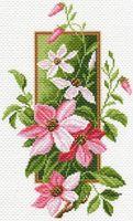 """Канва с нанесенным рисунком """"Клематисы"""" (арт. 1602)"""