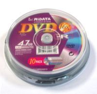 Диск DVD-R 4.7Gb 16x Ridata CakeBox 10