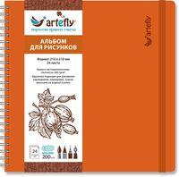 """Альбом для рисунков """"Artefly"""" (210х210 мм; твердая оранжевая обложка)"""