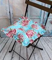 "Подушка на стул ""Ажур"" (35х35 см; бордово-голубая)"