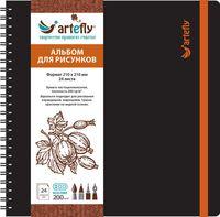 """Альбом для рисунков """"Artefly"""" (210х210 мм; твердая черная обложка)"""