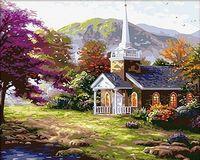 "Картина по номерам ""Церковь в горах"" (400х500 мм)"