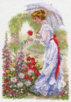 """Канва с нанесенным рисунком """"В цветущем саду"""""""