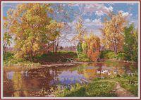"""Вышивка крестом """"Осенний пруд"""" (370х260 мм)"""