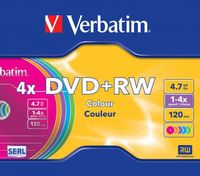 Диск DVD+RW 4.7Gb 4x Verbatim Colour Slim