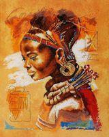 """Вышивка крестом """"Африканская девушка"""" (390х490 мм)"""