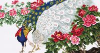 "Вышивка крестом ""Павлины в цветах"" (530х280 мм)"