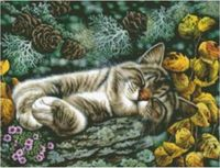 """Канва с нанесенным рисунком """"Спящий котенок"""""""
