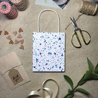 """Пакет бумажный подарочный """"Синие кляксы"""" (15x18,5x7 см)"""