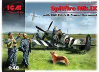 Британский истребитель Spitfire Mk.IX  c пилотами и наземным персоналом (масштаб: 1/48)