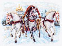 """Канва с нанесенным рисунком """"Тройка лошадей"""""""