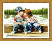 "Алмазная вышивка-мозаика ""Поцелуй у реки"" (700х500 мм)"
