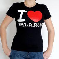 """Футболка женская """"I love Belarus"""" (S; черная)"""