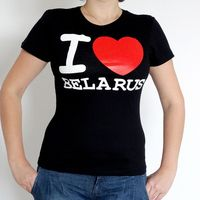 "Футболка женская Vitaem ""I LOVE BELARUS"" (черная) (S)"