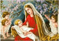 """Канва с нанесенным рисунком """"Мадонна с младенцем"""""""