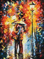 """Картина по номерам """"Поцелуй под дождем"""" (300х400 мм)"""