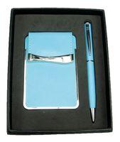 Набор. Визитница, ручка (голубой)