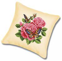 "Вышивка крестом ""Подушка. Бабочки и розы"" (450х450 мм)"