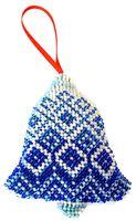 """Вышивка бисером """"Новогодняя игрушка. Синий колокольчик"""" (95х80 мм)"""