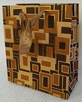 """Пакет бумажный подарочный """"Геометрия"""" коричневый (33*43*10 см)"""