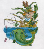 """Вышивка крестом """"Рыбак ловит сома"""""""
