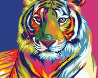 "Картина по номерам ""Радужный тигр"" (210х297 мм)"