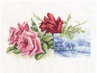 """Вышивка крестом """"Миниатюра с розами"""""""