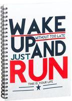 "Блокнот в клетку ""Wake up and run"" A5 (394)"