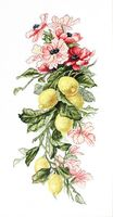 """Вышивка крестом """"Цветы и лимоны"""" (170х390 мм)"""