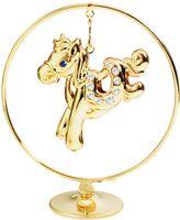 """Миниатюра """"Лошадка"""" в кругу (золотистая, с бесцветными кристаллами)"""