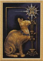 """Вышивка крестом """"Скарабей и кошка"""""""