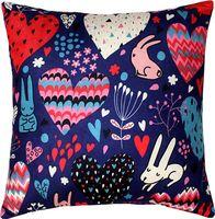 "Подушка ""Кролики и сердечки"" (35x35 см; синяя)"