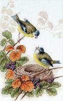 "Вышивка крестом ""Птички у гнезда"" (200х305 мм)"