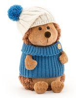 """Мягкая игрушка """"Ёжик Колюнчик в шапке с голубым помпоном"""" (15 см)"""