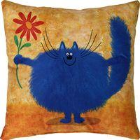 """Подушка """"Синий кот"""" (35x35 см; оранжевая)"""