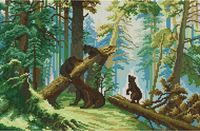 """Алмазная вышивка-мозаика """"Утро в сосновом лесу"""" (520х350 мм)"""