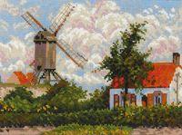 """Вышивка крестом """"К. Писсарро. Ветряная мельница в Кноке"""" (330х250 мм)"""