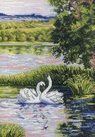 """Вышивка крестом """"Лебеди на пруду"""" (320x220 мм)"""