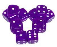"""Набор кубиков D6 """"Прозрачный"""" (12 мм; 12 шт.; фиолетовый)"""