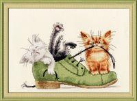 """Вышивка крестом """"Котята в ботинке"""" (240х170 мм)"""