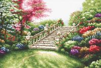 """Вышивка крестом """"Лестница в цветах"""""""
