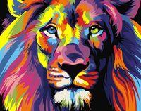 "Картина по номерам ""Радужный лев"" (165х130 мм)"