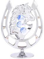 """Миниатюра """"Лошадь в подкове"""" (серебристого цвета с голубыми кристаллами)"""