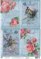 """Бумага для декупажа рисовая """"Красивые птички с розами"""" (210х300 мм)"""