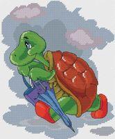 """Вышивка крестом """"Черепаха с зонтиком"""" (180х215 мм)"""