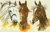 "Канва с нанесенным рисунком ""Три коня"""