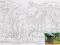 """Холст с контуром """"Слоны и жирафы"""""""