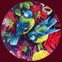 """Вышивка крестом """"Синицы и цветы"""" (280х280 мм; арт. X-1137)"""