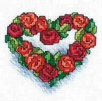 """Вышивка крестом """"Сердечко из роз"""""""